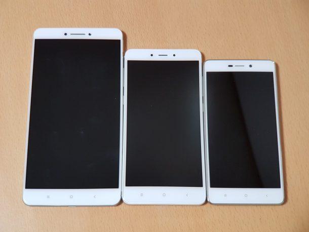 左からMi Max、Redmi Note 4、Redmi 3S