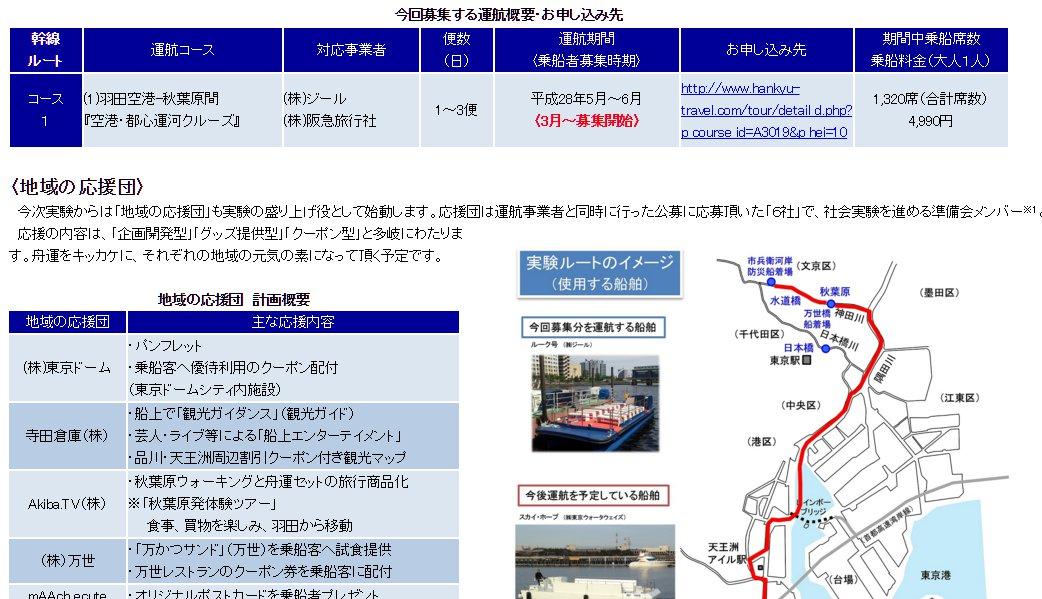 国土交通省羽田空港-秋葉原間の春季舟運社会実験